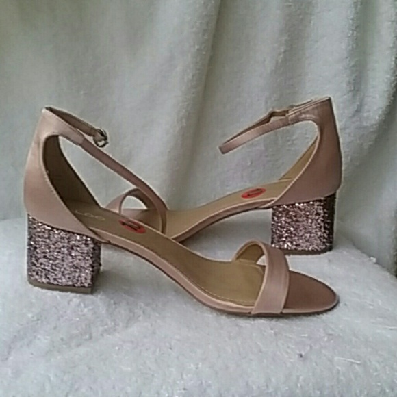 324acd18387 ALDO Victoria Ankle Strap Glitter Block Heel Sanda